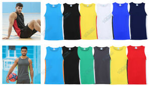 MENS GYM VEST,  COOL CONTRAST TOP BY AWDis FOR TRAINING, SPORTS, RUNNING WICKING