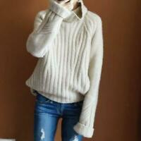 Women Cashmere Pullover Knitted Sweater Casual Loose Tops Warm Woolen Turtleneck