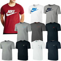 New Mens Nike Athletic Crew Neck Swoosh Embroidered White Casual T-Shirt Top