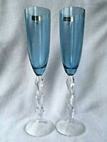 """2 Lenox Carat Sapphire Fluted Champagne Wine Glasses over 10"""" Tall Pair"""