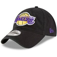 Los Angeles Lakers New Era 9Twenty Cotton Adjustable Strap Black Hat Dad Cap MLB