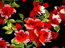 Enchanted Red Rose Cotton Lycra Stretch Knit Fabric BTY