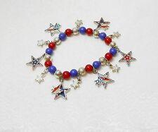 PATRIOTIC STARS CHARM BRACELET - ENAMEL - RED & BLUE BEADS - STRETCHY
