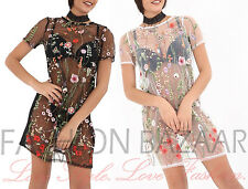 Womans Floral Embroidered Sheer Mesh Long T Shirt Mini Dress Party Holiday Top