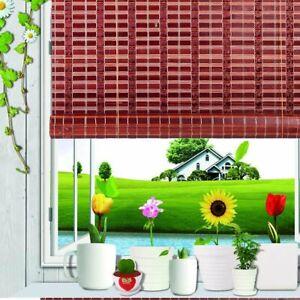 Asian Home Natural Bamboo Roll Up Window Blind Sun Shade Burgundy WB-SUN319...