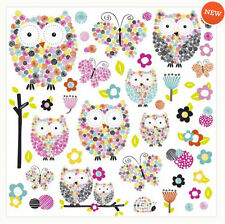 OWLS AND BUTTERFLIES wall stickers 48 colorful decals room SCRAPBOOKING applique