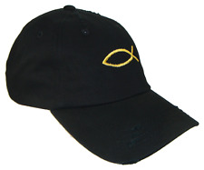 Black Gold Jesus Fish Vintage Polo Baseball Cap Dad Hat Caps Hats God Christian
