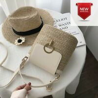 Women Rattan Handbags Summer Beach Straw Bags Wicker Woven Small Tote Bucket Bag