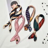 Womens Elegant Square Silk Feel Satin Scarf Skinny Retro Head-Neck Hair Tie Band
