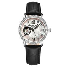 Stuhrling 3952 1 Legacy Automatic Skeleton Crystal Accented Leather Womens Watch