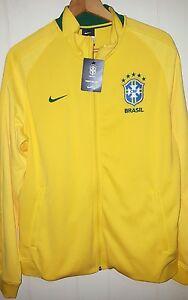 Nike Brazil Soccer Futbol Jersey Track Jacket Mens Large NWT $110.00 Yellow