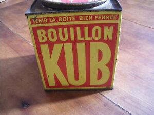 Ancienne Boite en Tôle Lithographiée Bouillon KUB Vintage