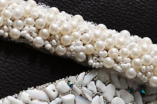 S204A  Beaded Pearl Crystal Diamond Applique, Bridal wedding dress sash belt