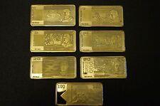 NOTE BARS AUSTRALIAN PAPER 5 GRAM COLLECTOR SET FINISHED IN FINE 24KT GOLD