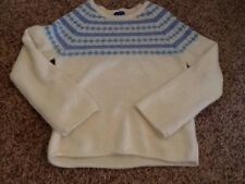 Greendog Girls Sweater Top  Cream Turquoise Blue Purple XL/16 Great Cond!