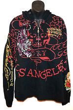 NEW Don ED HARDY by Christian Audigier Tiger Hoody Los Angeles Sweatshirt Black