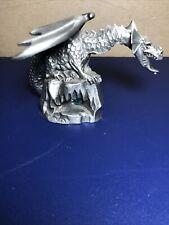 """Hudson Fine Pewter Dragon Figurine 1987 4108 Usa 2.5"""" Blue Crystal Eyes"""