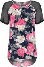 Polyester Short Sleeve Graphic Tee Floral T-Shirts for Women