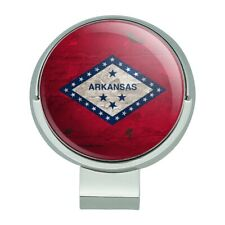 Rustic Arkansas State Flag Distressed Golf Hat Clip With Magnetic Ball Marker