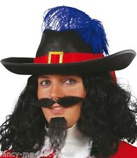 Mens Black Feather Musketeer Pirate Captain Hat Fancy Dress Costume Outfit