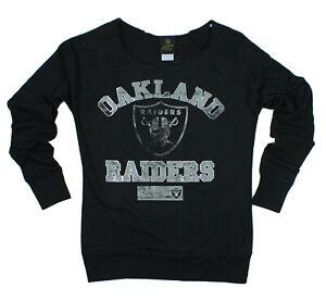 NFL Juniors Oakland Raiders Flashdance Off The Shoulder Sweatshirt, Black