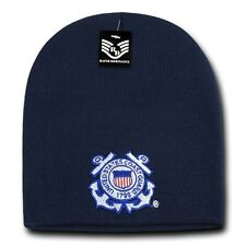 Blue United States US Coast Guard USCG Military Short Winter Knit Beanie Cap Hat