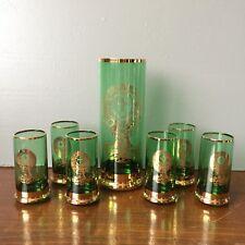 Vtg Glan Bohemia Gilt Green Glass Set Deer Cross Halo Hunters Jagermeister