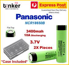 2X Panasonic NCR18650B 3400mAh Lithium Li-Ion Flat Top Rechargeable batteries