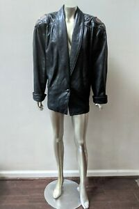 VINTAGE 80s 90s RETRO LEATHER SHOULDER DETAILS MOD BOHO BLAZER COAT JACKET sz L