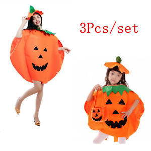 Halloween Pumpkin Fancy Dress Party Decor Costume Outfit for Adults Children