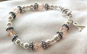 Uterine Cancer Awareness Hand-crafted Bracelet w/ Swarovski Crystals & Sterling