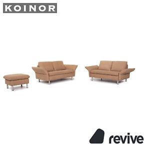 Koinor Vittoria Fabric Sofa Set Beige 2x Two Seater 1x Stool Function