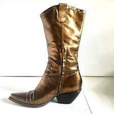 BCBG Girls Cowboy Boots Copper Bronze Metallic Leather Western Women's 7 B EU 37