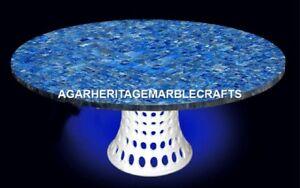Marble Dining Table Top Mosaic Lapis Stone Inlay Pietradura Outdoor Decor H2054