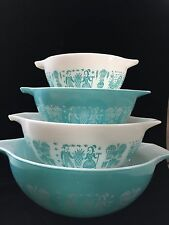 Vintage Pyrex Butterprint Turquoise Cinderella Set of 4 Mixing Bowls Excellent!