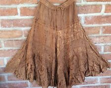 S M L XL Long India Skirt Boho Gypsy Peasant Broom Hippie Coffee Gold Tiered New