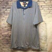 Men's Chaps Short Sleeve Polo Shirt Size L Large Blue White Striped