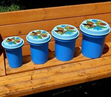 Vintage Blue Retro Floral Rubbermaid Hard Plastic Nesting Canisters Flower Lids