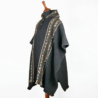 LLAMA WOOL MENS UNISEX SOUTH AMERICAN PONCHO CAPE COAT JACKET CLOAK HANDWOVEN
