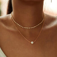 New Fashion Multilayer Chain Choker Necklace Women Crystal Pearl Pendant Jewelry