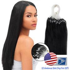 18''20''Loop Micro Ring Bead Tip Indian Remy Human Hair Extensions US Ship AAAAA