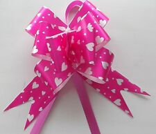DECO MARIAGE & FETES  10 NOEUDS A TIRER - petits COEURS  ROSE REF. 225