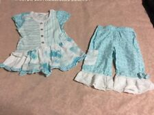 Naartjie girls size 4 teal white outfit tunic and pants flowers stripes