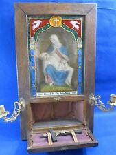 Rare Antique Catholic Shrine Religious Display Alter Last Rites Oak Wooden Box