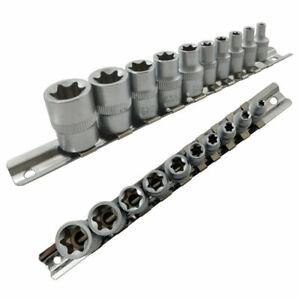 """Star Socket Set Female TRX Torx E Sockets 1/4"""" & 3/8"""" Drive E4-E18 On Rail"""
