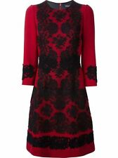 DOLCE & GABBANA Red Wool Crepe Lace appliqué dress 40  US 4/6  UK 8/10 NWT $3.8K