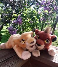 "18"" DISNEY STORE THE LION KING 2 SIMBA'S PRIDE CUBS KOVU & KIARA PLUSH EUC TOY"