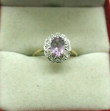 Superb 9ct Gold Amethyst And Diamond Cluster Ring Size K.1/2