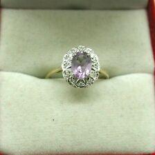 Molto bella 9ct Oro Topazio Blu E Anello Di Diamanti Taglia N.1/2
