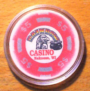 (1) $5. Rainbow Casino Chip - Nekoosa, Wisconsin - 1993